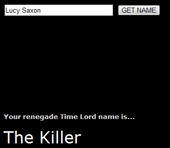 TIME LORD NAME GENERATOR! I'm The Officer, don't know how I fell about that.