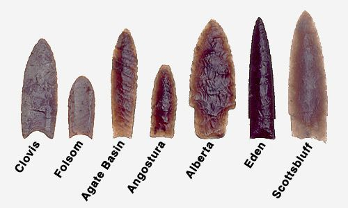 Folsom  Early Native American (immediately following Clovis) culture of North America; technology known for large, fluted, bifacial projectile points used as spear points for big game hunting.