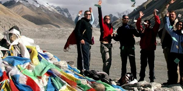 Small Group of Travellers on Mt Kailash in Tibet for Kailash Saga Dawa Festival with G'Adventures