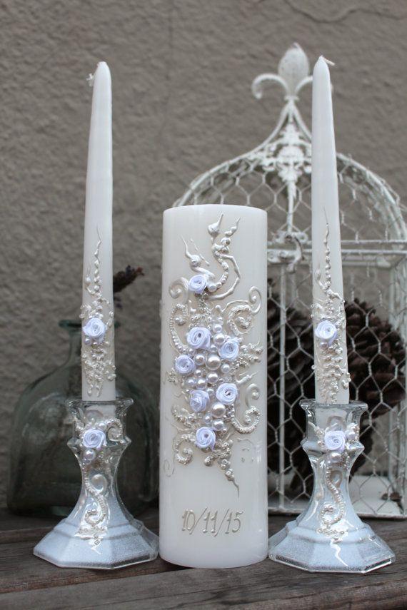 GORGEOUS Wedding unity candle set in white, beautiful unity ceremony set, wedding reception, white wedding candles