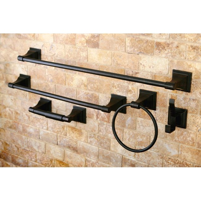 These matching bronze bathroom accessories are the ideal way to update your bathroom. The set comes with a towel ring, a robe hook, and a toilet paper holder, and the oil-rubbed bronze finish looks great when you put them up on your bathroom wall.