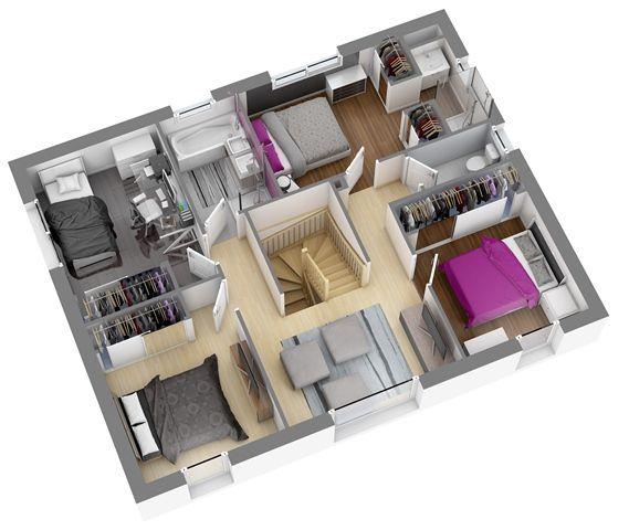 Modèles et plans de  maisons > Modèle à étage Ligne Citadine. Constructions Demeures Côte Argent