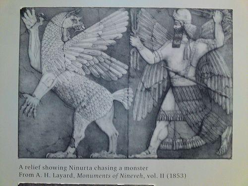 古代シュメール/バビロニアのニヌルタ(火星)神 ニヌルタが、稲妻を手に、龍と戦っています。1ninurta.jpg