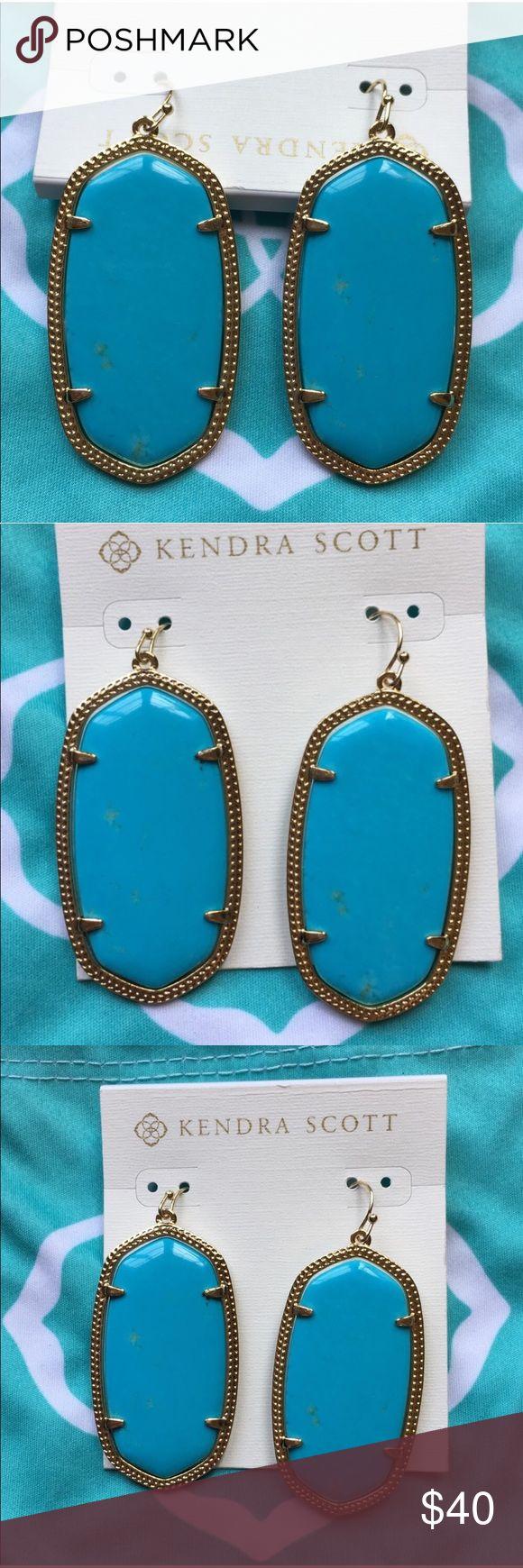 Kendra Scott Danielle earrings turquoise & gold Never worn! Includes dust bag Kendra Scott Jewelry Earrings