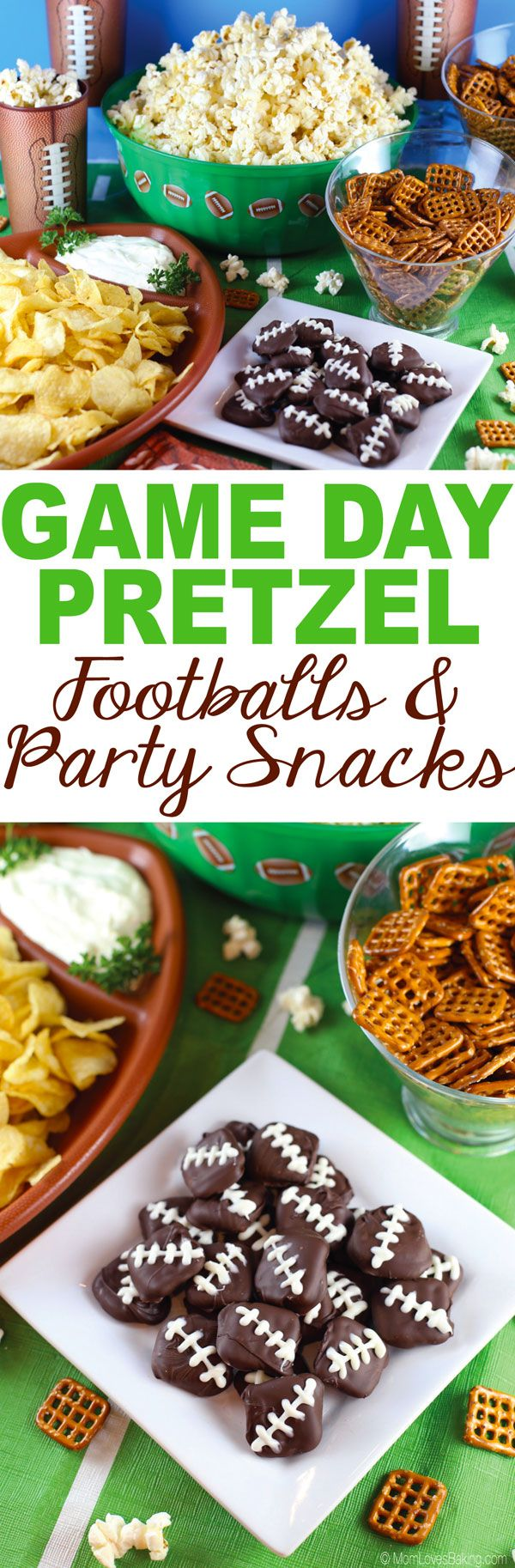 Getting excited about the BIG GAME? Check out my favorite football snacks, including these Game Day Pretzel Footballs made with @Snyder's of Hanover ! They're super easy to make! {#ad} #timetocrunch @Pop Secret @Cape Cod - Recipe on MomLovesBaking.com