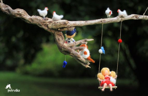Summer dream needle felted waldorf inspired mobile on branch