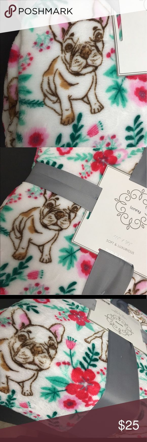 "French bulldog puppy floral plush blanket throw 60x90"" ultra plush super soft blanket. White with red green floral print and brown French bulldog outline puppy pattern. Super cute and comfy. Pet animal Other"