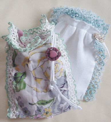 Gift or Sachet Bag made from a vintage handkerchief                                                                                                                                                     More