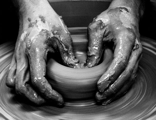 ... I love the feel of clay in between my fingers while throwing on the potters wheel...