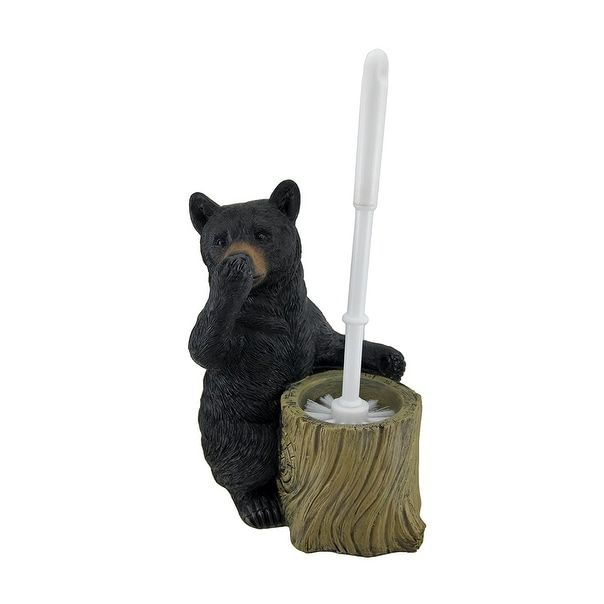 Nose Holding Bear Butler Toilet Brush and Holder Set - Black (Acrylic)