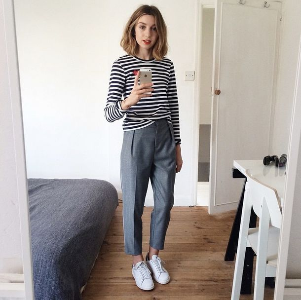 Brittany Bathgate in breton stripes, cropped trousers, and white sneakers