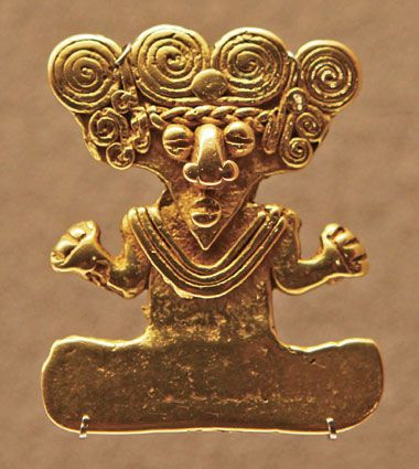Gold pectoral-pendant, Muiscas Culture, ca. 1200-1500 A.D. Central Colombia