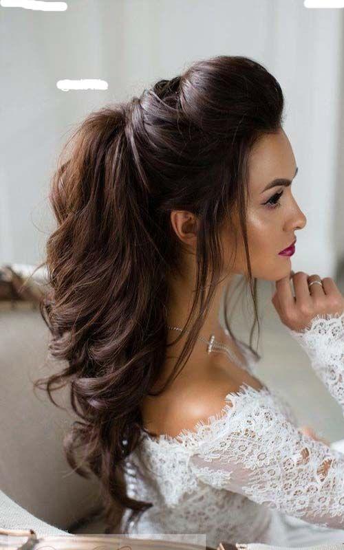 Half up half down long bridal hairstyle