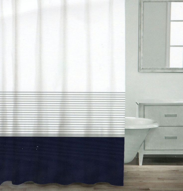 Caro Home Cotton Shower Curtain Wide Stripe Navy Blue