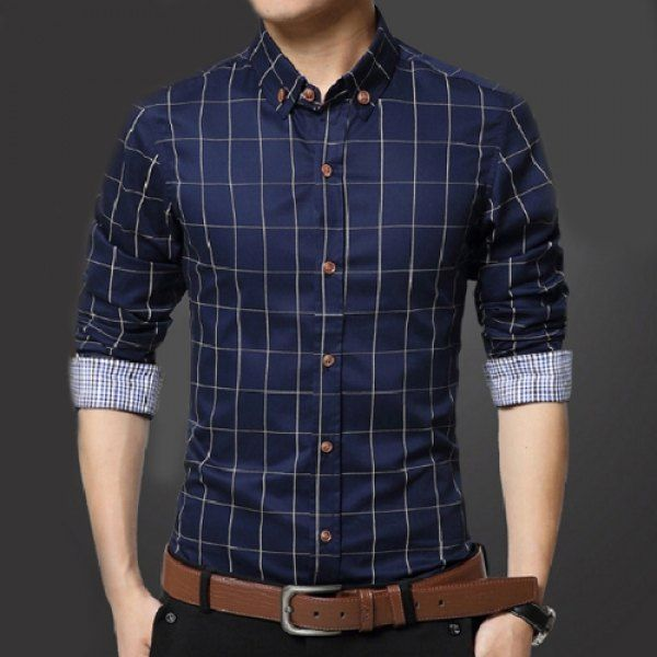 Turn-Down Collar Slimming Long Sleeve Checked Men's Button-Down Shirt
