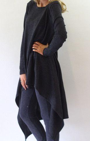 Hazel Grey Long Drape Lagenlook Layering Jumper – Lagenlook Luxe Clothing