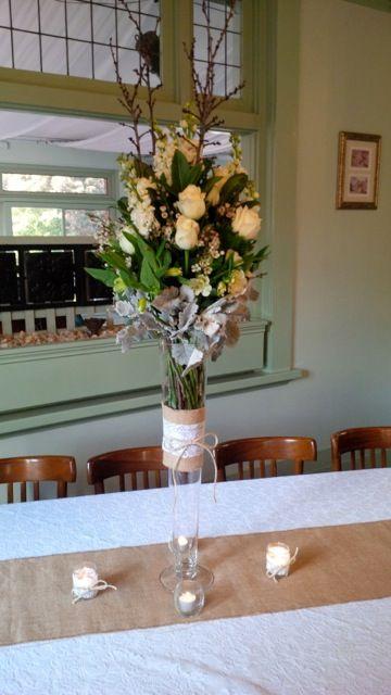#burlaprunner #tealights #vase #freshflowers #vintage #lace