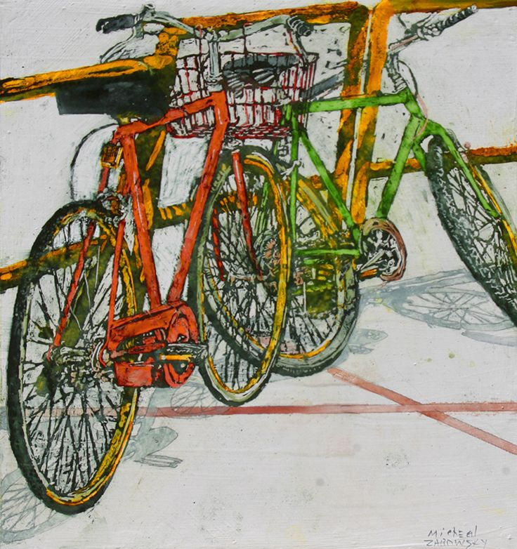 "Lido bikes (27) - 15"" x 16 1/2"" x 1 3/4""  micheal zarowsky / Mixed media (watercolour / acrylic painted directly on gessoed birch panel) private collection"
