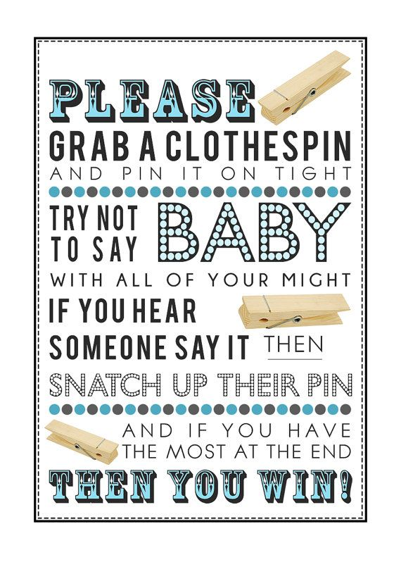 Blue Clothespin Game For Baby Shower (without Bow Ties) 5x7 U0026 8x10 PDF  Instant Download Printable