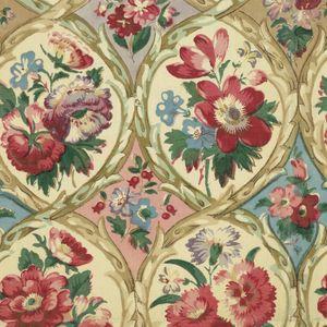 Структура решетки стрельчатая с небольшими букетами гвоздик в красных и синих на белой земле; в пустотах земли чередуется розовый и голубой, с небольшой цветочные спреи.