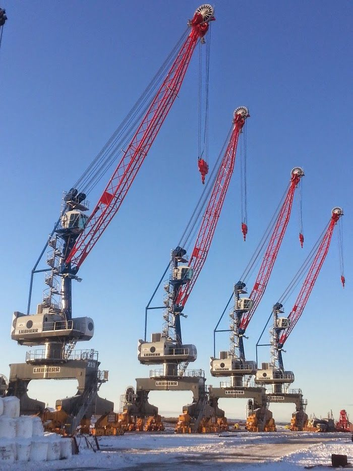 Crane Truck For Sale >> Liebherr - Portal Slewing Cranes in the Port of Dudinka ...