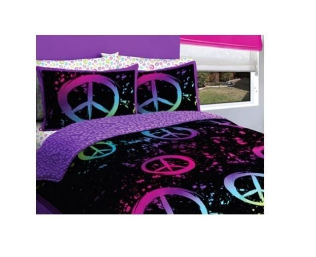 Peace Comforter Set Bedding Twin Girls Bed In A Bag Black Purple Pink Sign