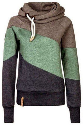 Casual Color Block Long Sleeves Hoodie For WomenSweatshirts & Hoodies | RoseGal.com