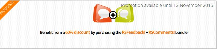 Don't miss the 60% Discount on purchasing the RSFeedback! + RSComments! Bundle! 2 Days Left! http://bit.ly/1l9gVPC The discount is automatically applied when adding both products in the shopping cart. There is no need for a discount coupon. #Feedback #Joomla #Comments