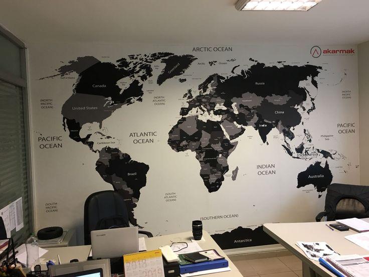 Siyah Beyaz Dünya Haritası - Dünya Haritası Duvar Kağıdı - 3D Duvar Kağıdı - Dünya Turu - Harita Dekorasyonu - Dünya Şehirleri | duvargiydir.com