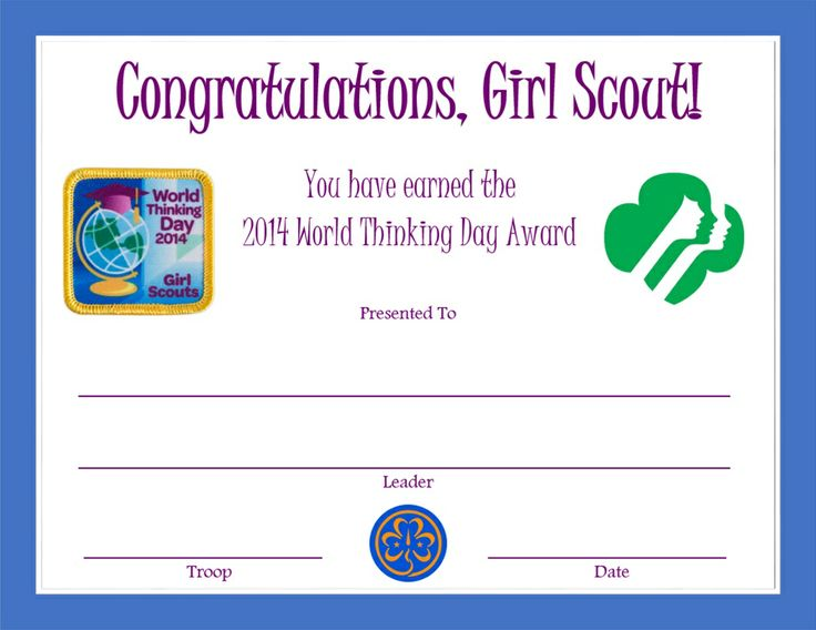 Girl scout investiture certificate | printable pdf template.