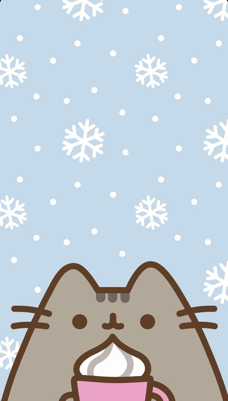 pusheen winter wallpaper !! Christmas phone wallpaper