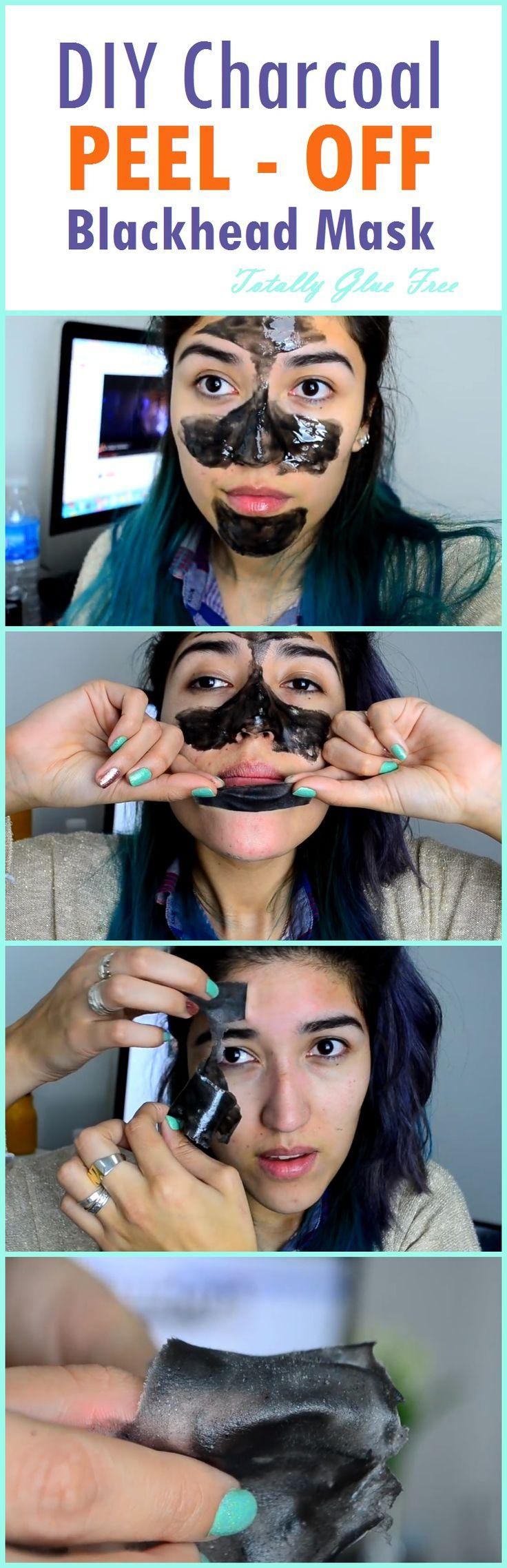 DIY Charcoal PEEL-OFF Blackhead Mask, its Totally Glue Free [#Infographic] #charcoal #blackhead #mask #peeloff #DIY
