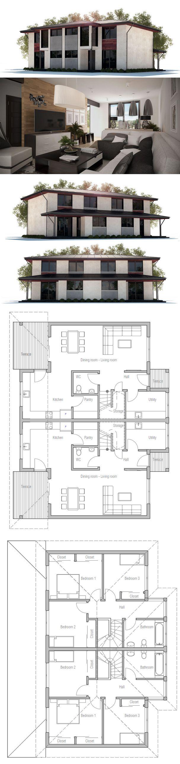 82 best duplex fourplex plans images on pinterest for Plan maison duplex moderne