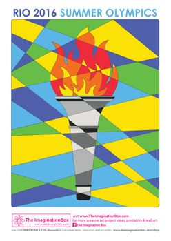 Get into the spirit of the 2016 Rio Olympic Games, with this 'hidden' modern art, abstract style Olympic Torch creative activity. Encourage students to explore colour - perhaps the 5 olympic rings colours? Discuss how to make the torch and flame 'stand out' from the background.