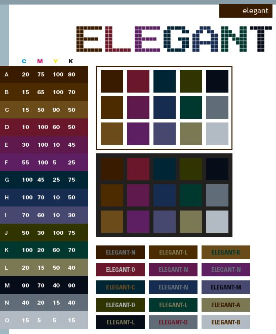 Elegant Color Schemes Combinations Palettes For Print CMYK And Web RGB HTML