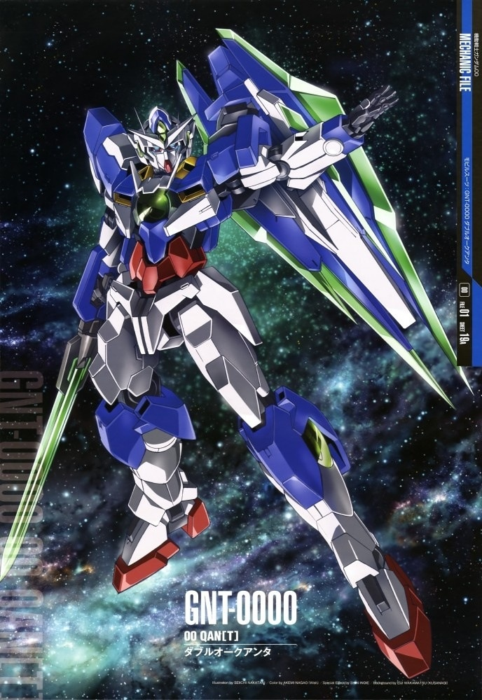 """GNT-0000 00 Qan[T] (aka 00Q, 00 Qan[T], pronounced """"Double-Oh Quanta""""), is the successor unit to the GN-0000+GNR-010 00 Raiser in Mobile Suit Gundam 00 The Movie -A wakening of the Trailblazer-. The unit is piloted by Setsuna F. Seiei."""