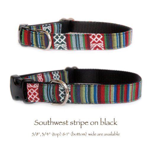 Southwestern black stripe dog collar  Tribal Navajo Native American Aztec Mexican inspired fabric  black nylon designer handmade pet collar Small dog collar to large dog collar Made in the USA M * Details can be found by clicking on the image.(This is an Amazon affiliate link and I receive a commission for the sales)