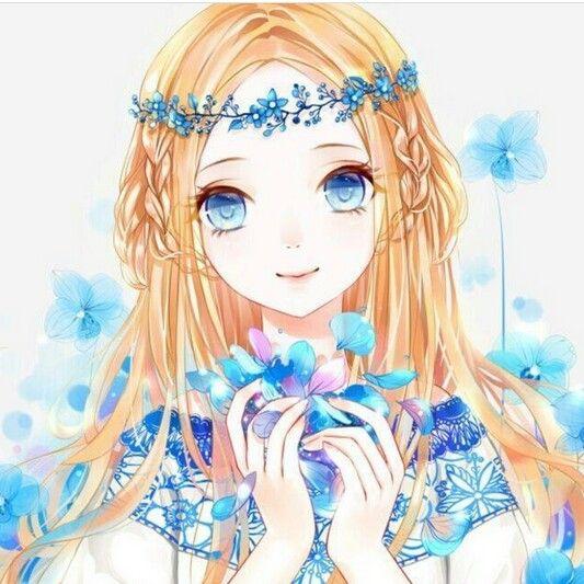 anime girl blonde hair blue eyes flowers dress