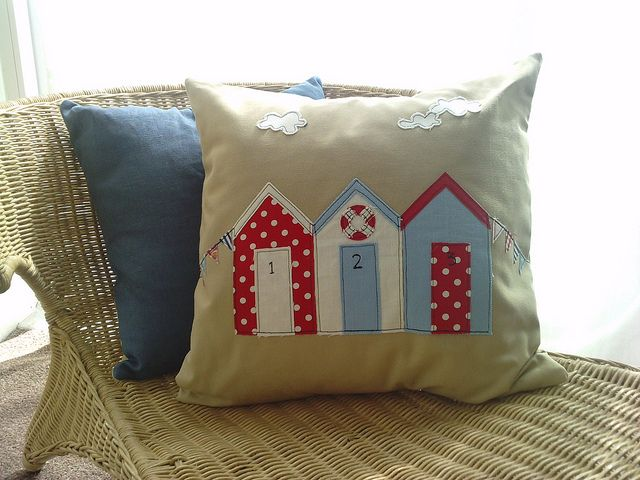New beach hut applique cushion by jo fulham textiles, via Flickr