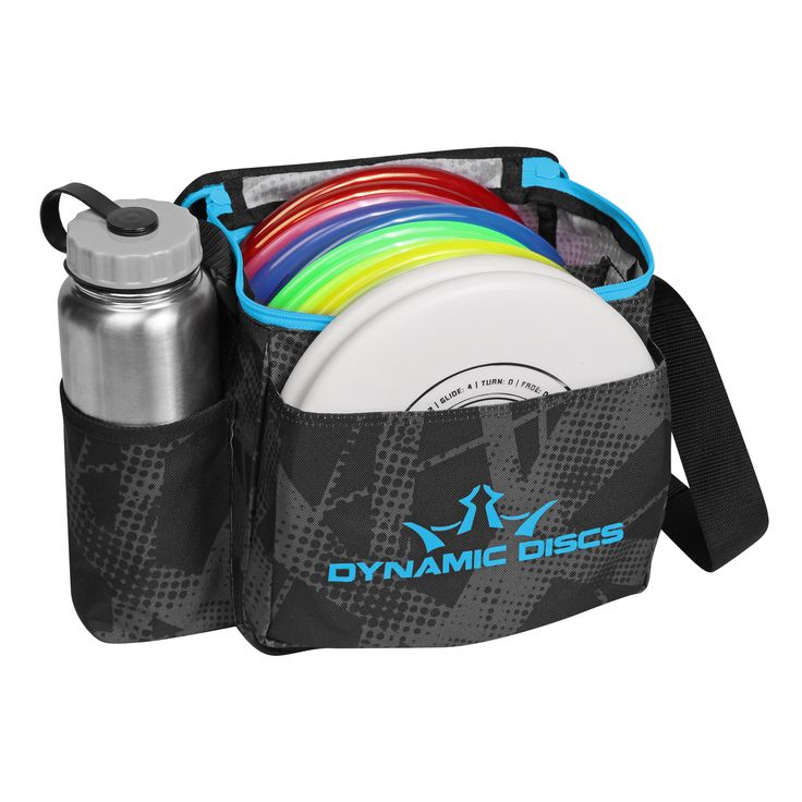 Holds 8-10 discs in the main compartment and two putters in the putter pocket. Very lightweight and compact. Includes adjustable should strap. Mesh pocket for your scorecard, pencils and minis. Drink
