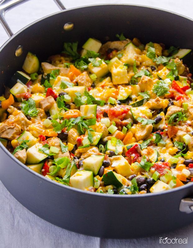 One Pan Skinny Tex Mex Chicken and Zucchini Recipe - RecipeChart.com