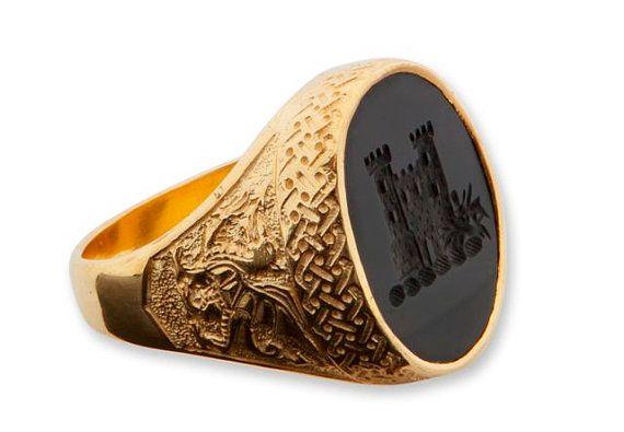 Celta anillo ónix negro Regnas sello chapado en oro por Regnas