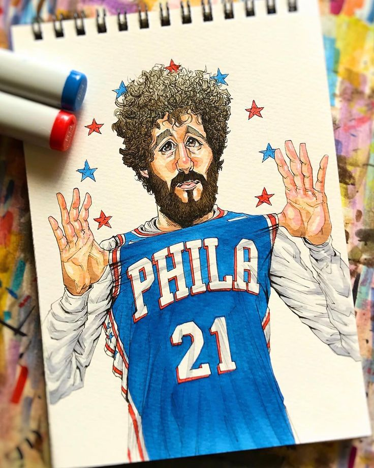 Lil Dicky @lildickygram @sixers @nba #lildicky #philadelphia #76ers #bulls #bucks #knicks #music #cavs #bball #warriors #pacers #pistons #rockets #art #spurs #clippers #okc #raptors #lakers #grizzlies #lebron #lebronjames #heat #hoops #nba #suns #basketball #nike #drawingoftheday