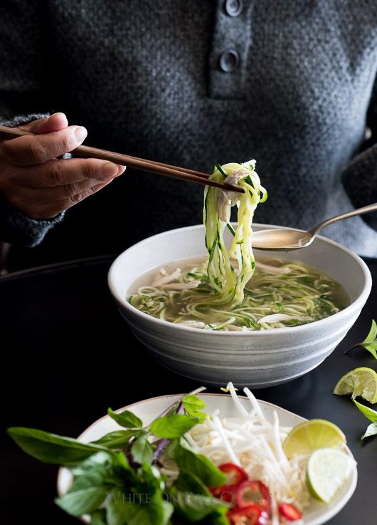 Chicken Pho Noodle Soup Recipe with Zucchini Noodles! Light, healthy and comforting.   @whiteonrice