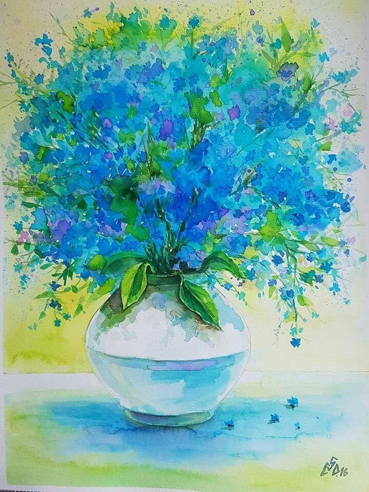 """Blue 26"",watercolor by Gabriela Calinoiu."