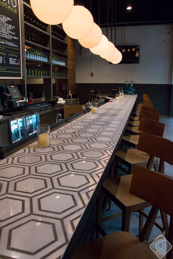Moto in the Gulch features Mission Stone Tile's Hex Appeal Tile for a countertop.  Mission Accomplished!
