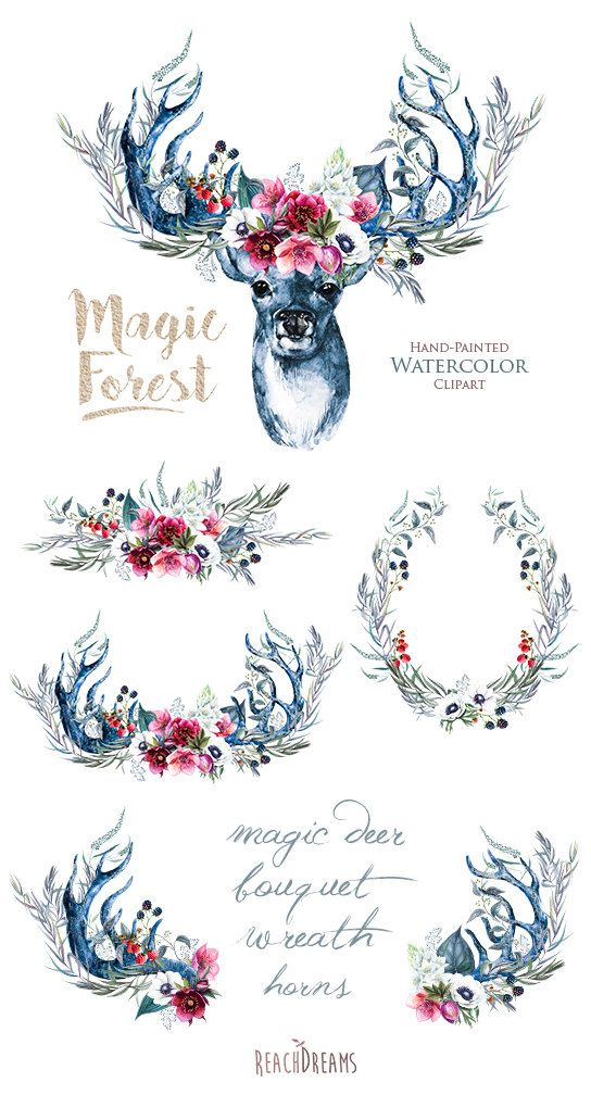 This set of 6 high quality hand painted watercolor magic deer with antlers, wreath and bouquet Perfect graphic for wedding invitations, greeting cards, photos, posters, quotes and more. Item details: 6 PNG files (300 dpi, RGB, transparent background) Deers size (larger side) aprox.: 18 inch, 5400 px Wreath, bouquet & horns size (larger side) aprox.: 17 inch - 12 inch, 5100 px - 3600 px Instant Download: Once payment is cleared, you can download your files directly from your Etsy account...