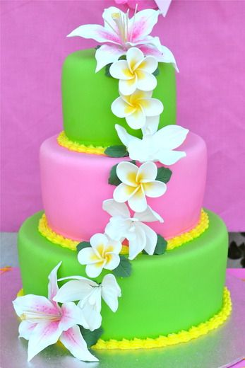 Hawaiian party.... Sarah says to use these flowers on her topsy turvy sweet 16 hawaiian cake
