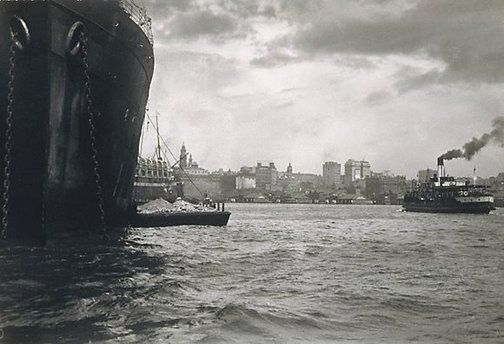 Untitled (Ship - looking to Quay) by Harold Cazneaux, c.1920.