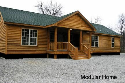 Double Wide Log Mobile Home | Mobile, Modular, and Manufactured Homes guest home at the back of our property